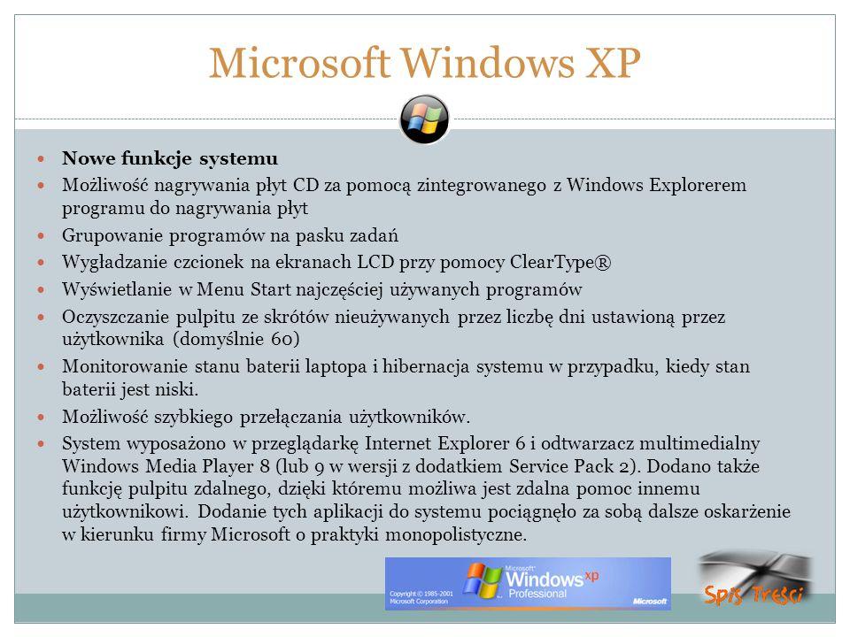 Microsoft Windows XP Nowe funkcje systemu Możliwość nagrywania płyt CD za pomocą zintegrowanego z Windows Explorerem programu do nagrywania płyt Grupo