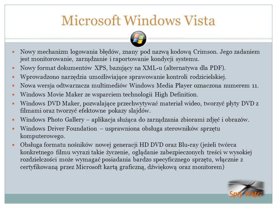 Microsoft Windows Vista Nowy mechanizm logowania błędów, znany pod nazwą kodową Crimson. Jego zadaniem jest monitorowanie, zarządzanie i raportowanie