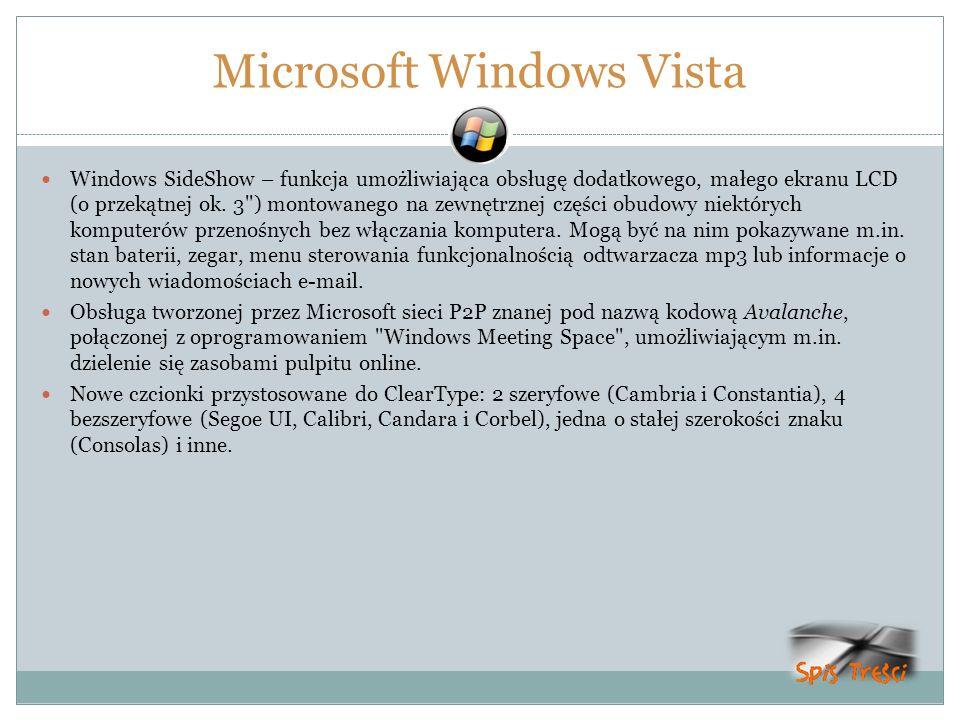 Microsoft Windows Vista Windows SideShow – funkcja umożliwiająca obsługę dodatkowego, małego ekranu LCD (o przekątnej ok. 3