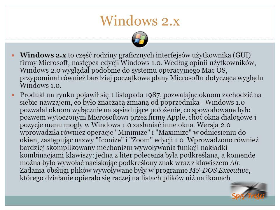 Windows 2.x Windows 2.x to część rodziny graficznych interfejsów użytkownika (GUI) firmy Microsoft, następca edycji Windows 1.0. Według opinii użytkow