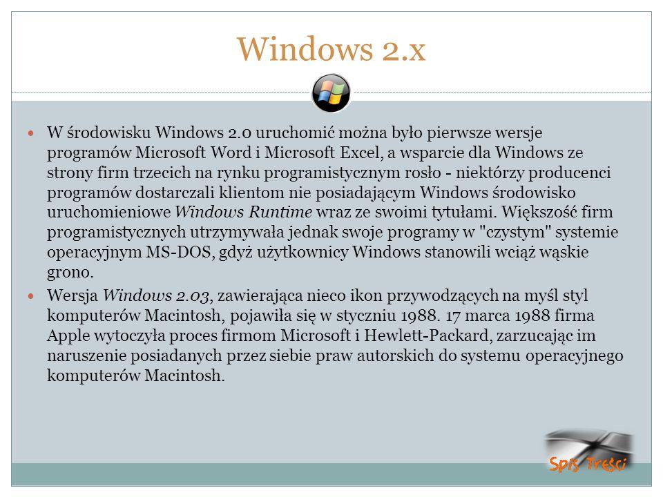 Windows 2.x W środowisku Windows 2.0 uruchomić można było pierwsze wersje programów Microsoft Word i Microsoft Excel, a wsparcie dla Windows ze strony