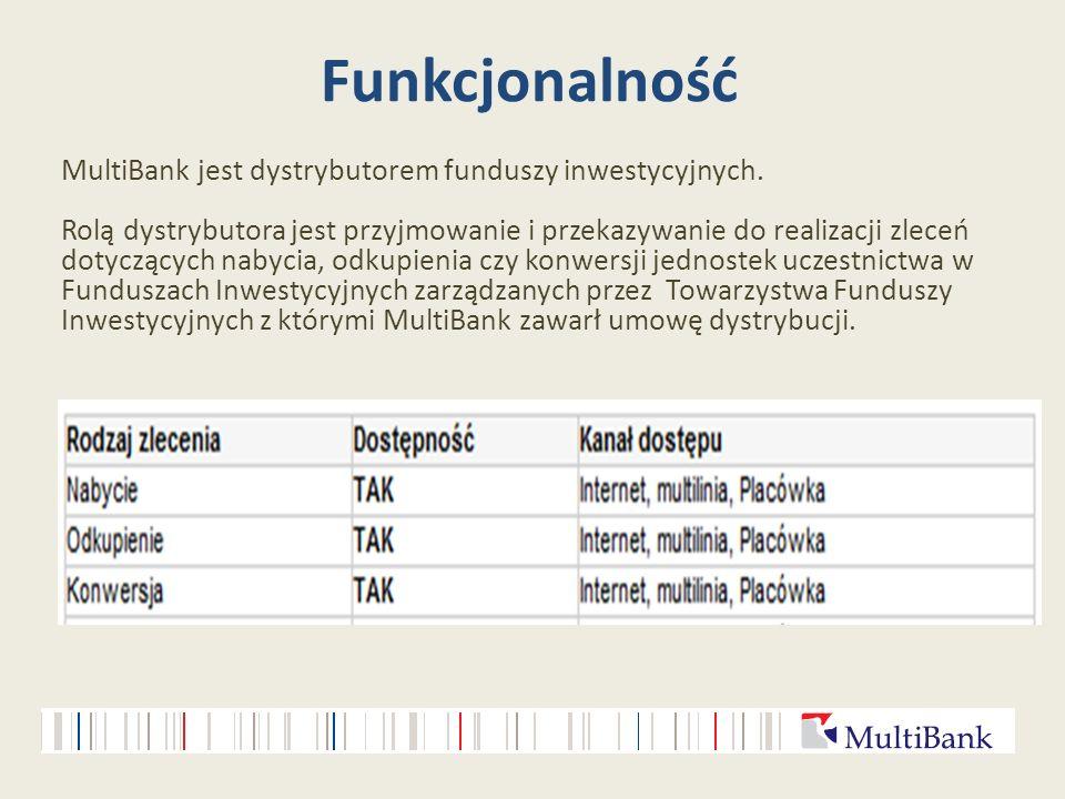 Funkcjonalność MultiBank jest dystrybutorem funduszy inwestycyjnych. Rolą dystrybutora jest przyjmowanie i przekazywanie do realizacji zleceń dotycząc