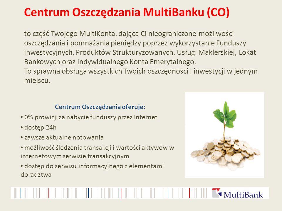 Centrum Oszczędzania MultiBanku (CO) to część Twojego MultiKonta, dająca Ci nieograniczone możliwości oszczędzania i pomnażania pieniędzy poprzez wyko