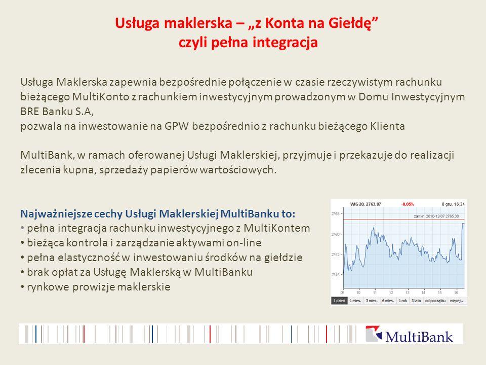 Usługa maklerska – z Konta na Giełdę czyli pełna integracja Usługa Maklerska zapewnia bezpośrednie połączenie w czasie rzeczywistym rachunku bieżącego