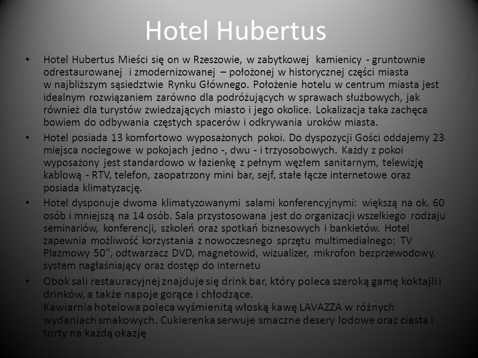 Hotel Hubertus Hotel Hubertus Mieści się on w Rzeszowie, w zabytkowej kamienicy - gruntownie odrestaurowanej i zmodernizowanej – położonej w historycznej części miasta w najbliższym sąsiedztwie Rynku Głównego.