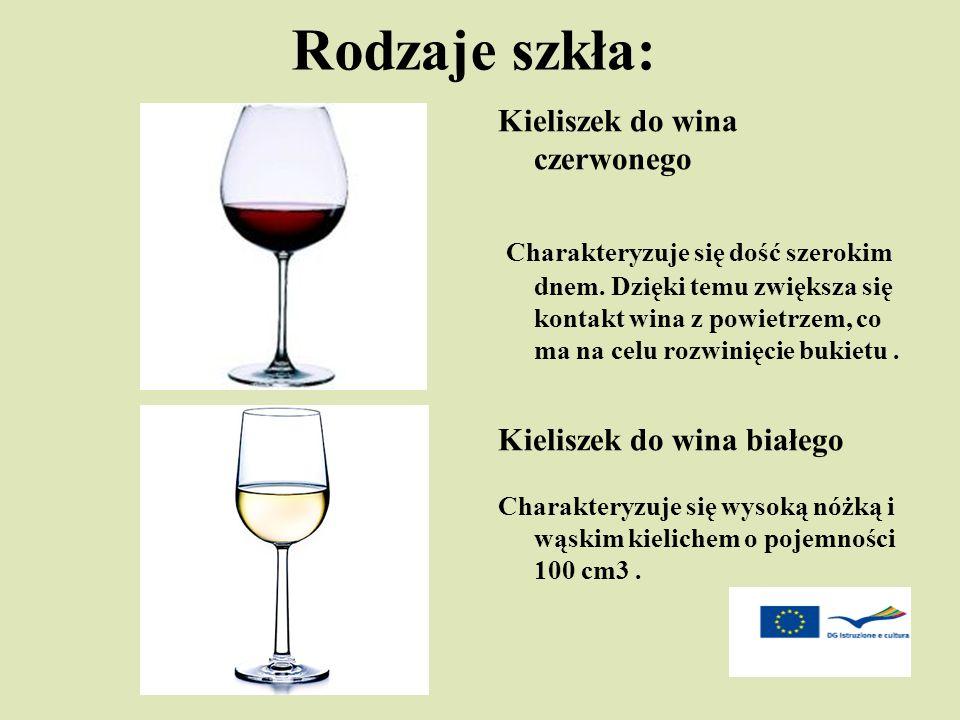 Rodzaje szkła: Kieliszek do wina czerwonego Charakteryzuje się dość szerokim dnem. Dzięki temu zwiększa się kontakt wina z powietrzem, co ma na celu r