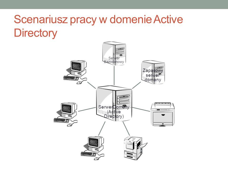 Scenariusz pracy w domenie Active Directory SerwerDomeny (Active Directory) Serwer Bazodanowy Zapasowy serwer domeny