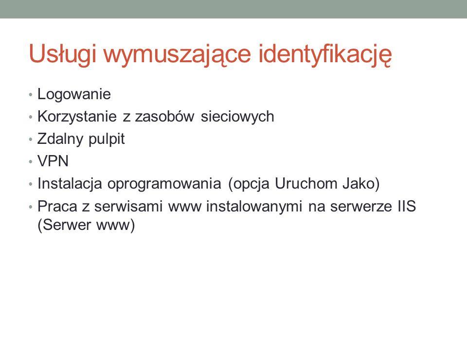 Usługi wymuszające identyfikację Logowanie Korzystanie z zasobów sieciowych Zdalny pulpit VPN Instalacja oprogramowania (opcja Uruchom Jako) Praca z s