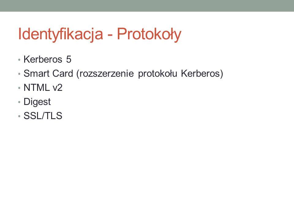 Identyfikacja - Protokoły Kerberos 5 Smart Card (rozszerzenie protokołu Kerberos) NTML v2 Digest SSL/TLS