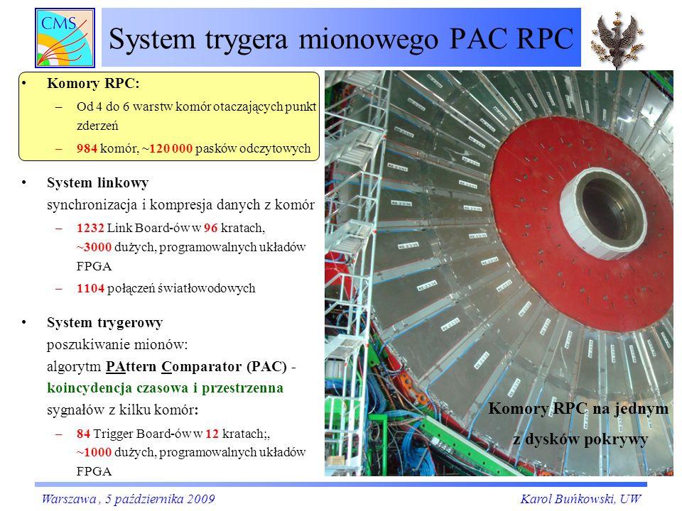 System trygera mionowego PAC RPC Komory RPC: –Od 4 do 6 warstw komór otaczających punkt zderzeń –984 komór, ~120 000 pasków odczytowych System linkowy synchronizacja i kompresja danych z komór –1232 Link Board-ów w 96 kratach, ~3000 dużych, programowalnych układów FPGA –1104 połączeń światłowodowych System trygerowy poszukiwanie mionów: algorytm PAttern Comparator (PAC) - koincydencja czasowa i przestrzenna sygnałów z kilku komór: –84 Trigger Board-ów w 12 kratach;, ~1000 dużych, programowalnych układów FPGA Karol Buńkowski, UWWarszawa, 5 października 2009 Komory RPC na jednym z dysków pokrywy