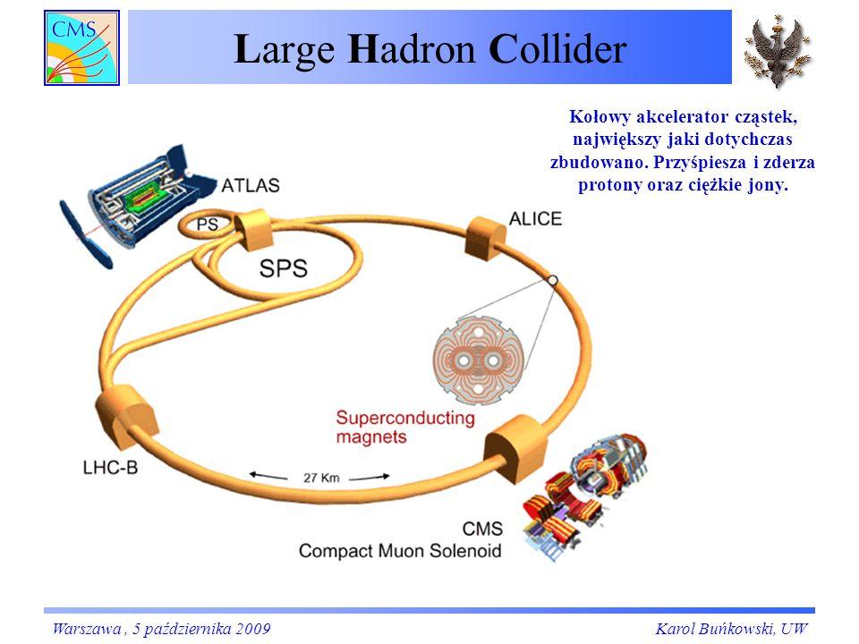 Large Hadron Collider Warszawa, 5 października 2009Karol Buńkowski, UW Kołowy akcelerator cząstek, największy jaki dotychczas zbudowano.