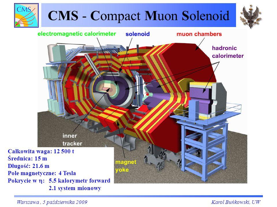CMS - Compact Muon Solenoid Całkowita waga: 12 500 t Średnica: 15 m Długość: 21.6 m Pole magnetyczne: 4 Tesla Pokrycie w : 5.5 kalorymetr forward 2.1 system mionowy Karol Buńkowski, UWWarszawa, 5 października 2009
