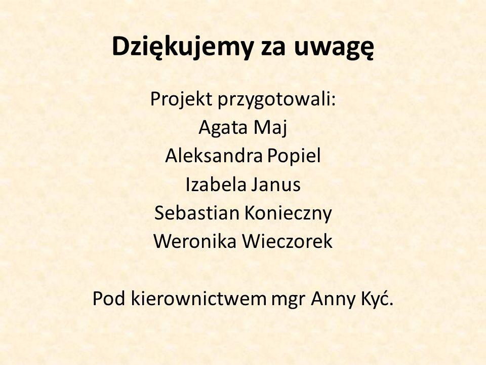 Dziękujemy za uwagę Projekt przygotowali: Agata Maj Aleksandra Popiel Izabela Janus Sebastian Konieczny Weronika Wieczorek Pod kierownictwem mgr Anny Kyć.