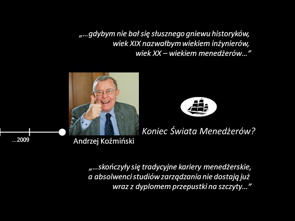 …2009 Andrzej Koźmiński Koniec Świata Menedżerów? …skończyły się tradycyjne kariery menedżerskie, a absolwenci studiów zarządzania nie dostają już wra