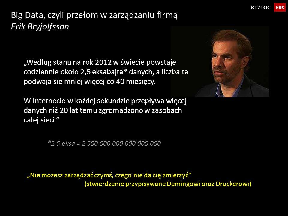 Big Data, czyli przełom w zarządzaniu firmą Erik Bryjolfsson HBR R121OC Nie możesz zarządzać czymś, czego nie da się zmierzyć (stwierdzenie przypisywa
