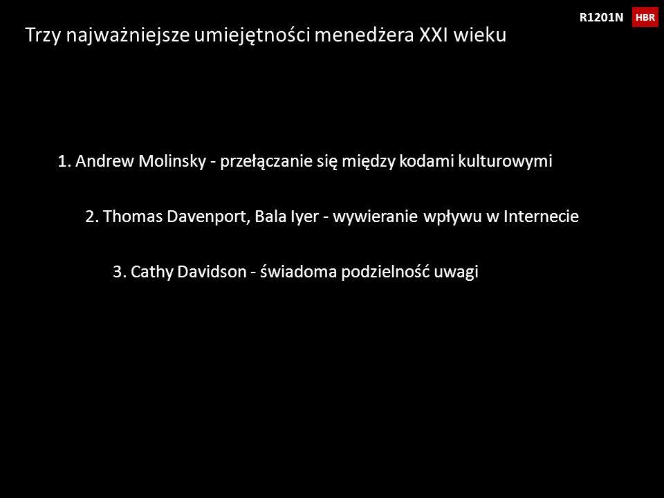 Trzy najważniejsze umiejętności menedżera XXI wieku HBR R1201N 1. Andrew Molinsky - przełączanie się między kodami kulturowymi 2. Thomas Davenport, Ba