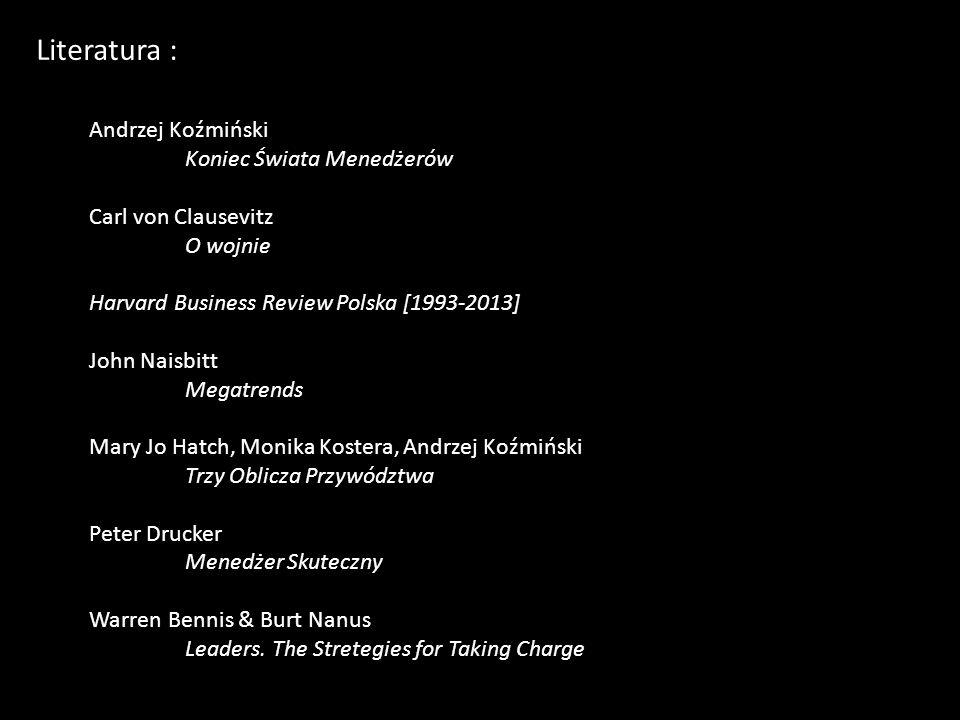 Literatura : Andrzej Koźmiński Koniec Świata Menedżerów Carl von Clausevitz O wojnie Harvard Business Review Polska [1993-2013] John Naisbitt Megatren