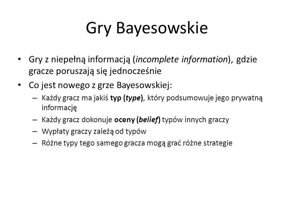 Gry Bayesowskie Gry z niepełną informacją (incomplete information), gdzie gracze poruszają się jednocześnie Co jest nowego z grze Bayesowskiej: – Każd