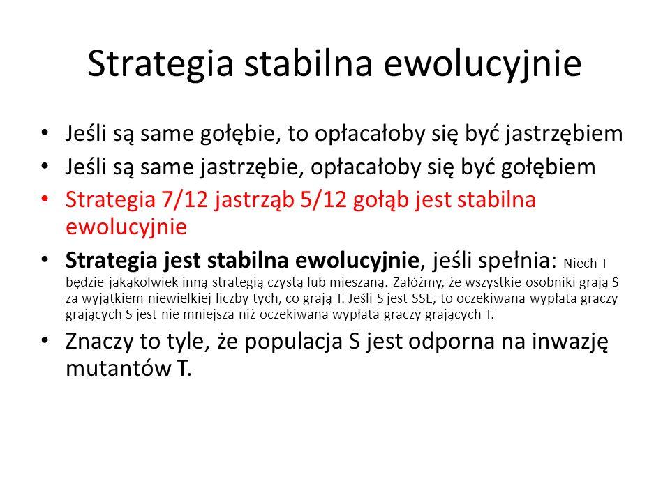 Strategia stabilna ewolucyjnie Jeśli są same gołębie, to opłacałoby się być jastrzębiem Jeśli są same jastrzębie, opłacałoby się być gołębiem Strategi