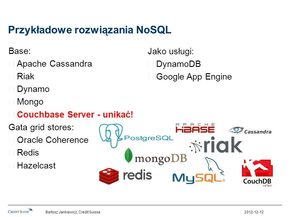 Przykładowe rozwiązania NoSQL Base: Apache Cassandra Riak Dynamo Mongo Couchbase Server - unikać! Gata grid stores: Oracle Coherence Redis Hazelcast J