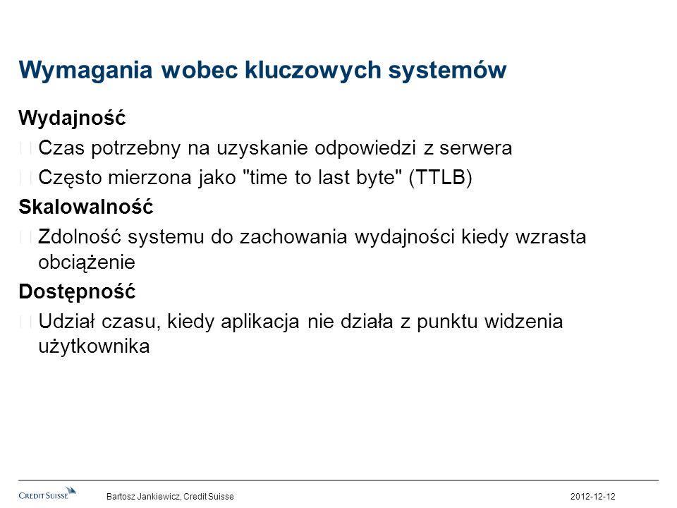 Wymagania wobec kluczowych systemów Wydajność Czas potrzebny na uzyskanie odpowiedzi z serwera Często mierzona jako