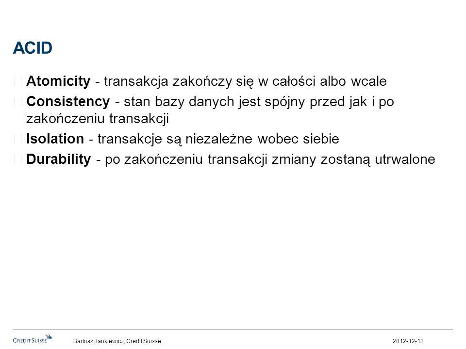 ACID Atomicity - transakcja zakończy się w całości albo wcale Consistency - stan bazy danych jest spójny przed jak i po zakończeniu transakcji Isolati