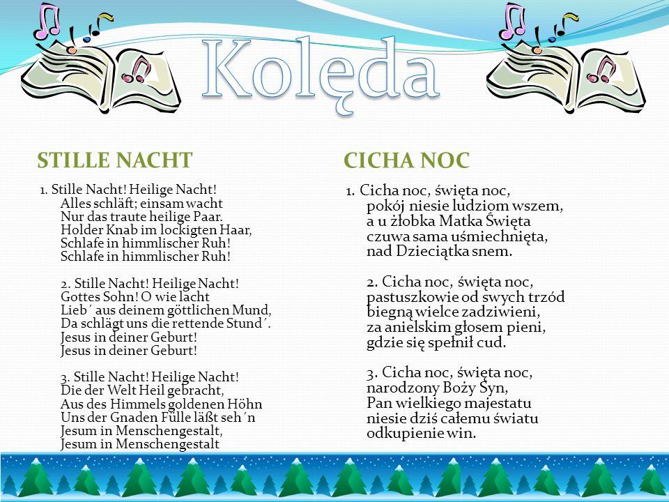 Fröhliche Weihnachten Ich wünsche dir Fröhliche Weihnachten Und eine Menge hübscher Sachen, Die das Leben dir versüßen Und viel Freude machen Wesołych Świąt Życzę Wesołych Świąt I wiele rzeczy dość, Życie, które słodzą I dużo radości.
