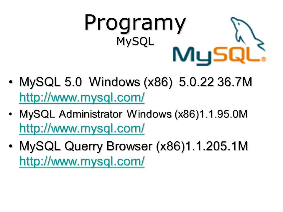 Programy MySQL MySQL 5.0Windows (x86) 5.0.22 36.7M http://www.mysql.com/MySQL 5.0 Windows (x86) 5.0.22 36.7M http://www.mysql.com/ http://www.mysql.co