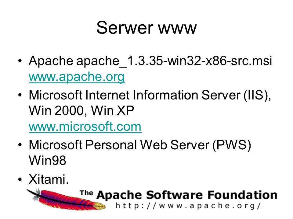 Serwer www Apache apache_1.3.35-win32-x86-src.msi www.apache.org www.apache.org Microsoft Internet Information Server (IIS), Win 2000, Win XP www.microsoft.com www.microsoft.com Microsoft Personal Web Server (PWS) Win98 Xitami.