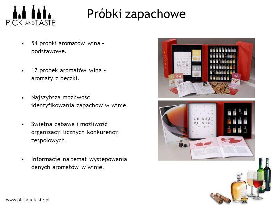 www.pickandtaste.pl Próbki zapachowe 54 próbki aromatów wina – podstawowe. 12 próbek aromatów wina – aromaty z beczki. Najszybsza możliwość identyfiko