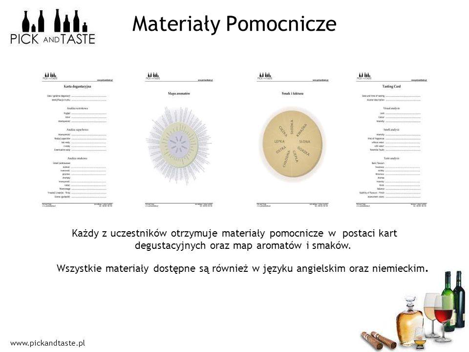 www.pickandtaste.pl Materiały Pomocnicze Każdy z uczestników otrzymuje materiały pomocnicze w postaci kart degustacyjnych oraz map aromatów i smaków.