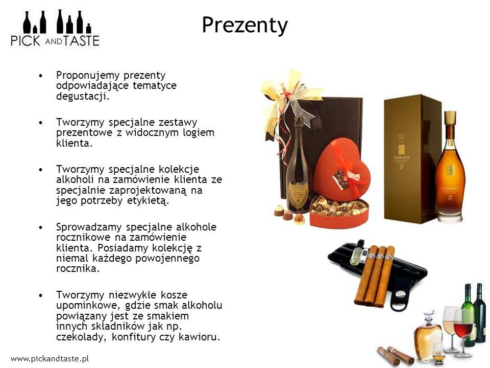 www.pickandtaste.pl Prezenty Proponujemy prezenty odpowiadające tematyce degustacji. Tworzymy specjalne zestawy prezentowe z widocznym logiem klienta.