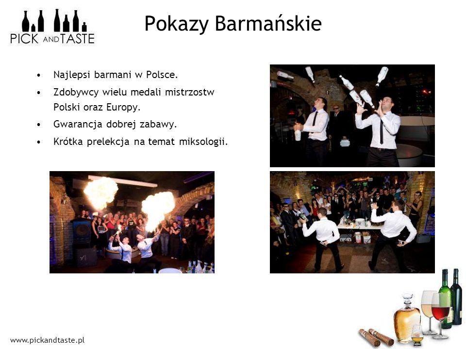 www.pickandtaste.pl Pokazy Barmańskie Najlepsi barmani w Polsce. Zdobywcy wielu medali mistrzostw Polski oraz Europy. Gwarancja dobrej zabawy. Krótka