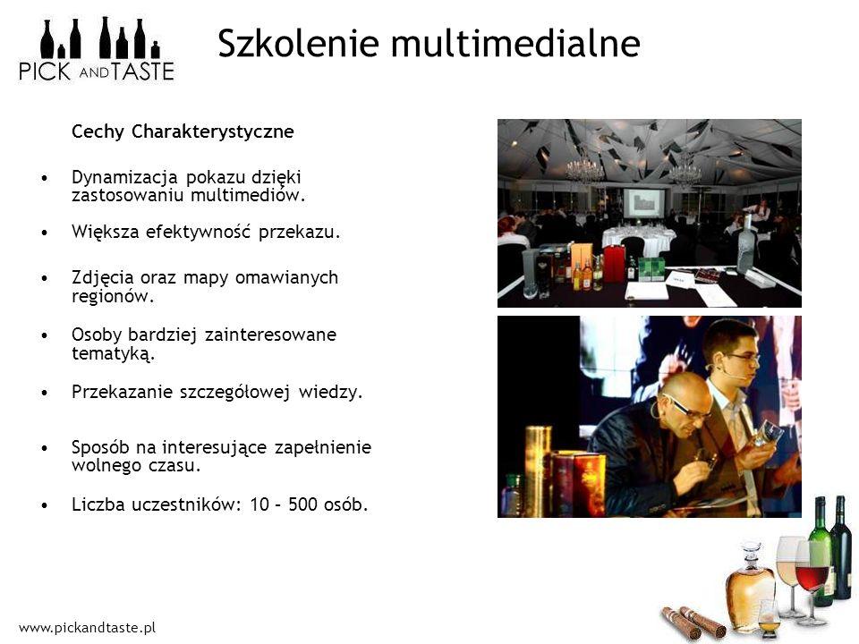 www.pickandtaste.pl Szkolenie multimedialne Cechy Charakterystyczne Dynamizacja pokazu dzięki zastosowaniu multimediów. Większa efektywność przekazu.