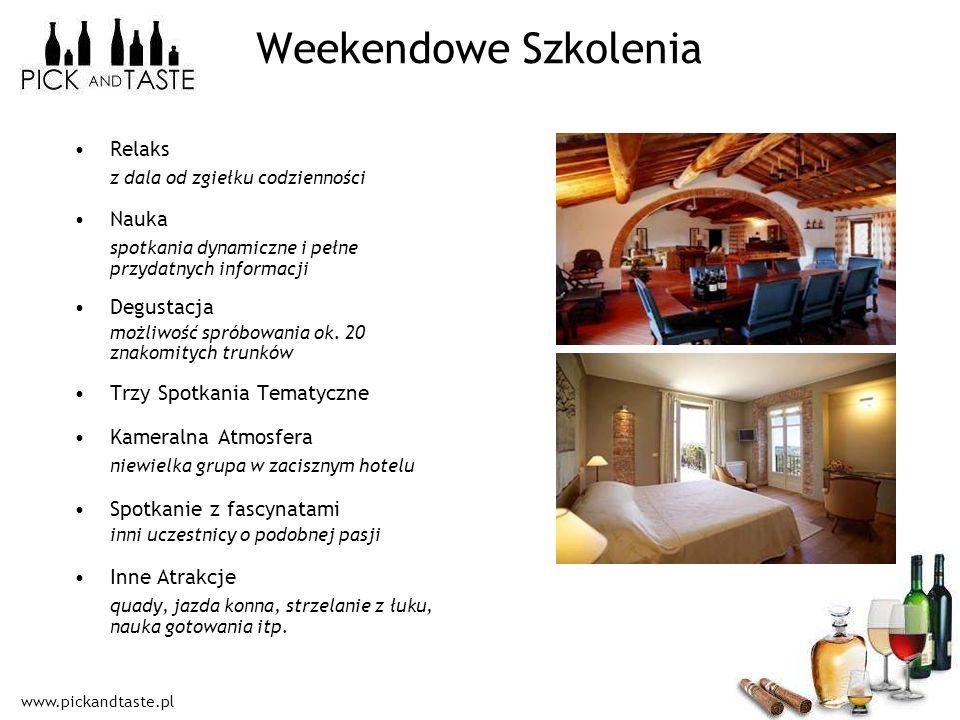 www.pickandtaste.pl Weekendowe Szkolenia Relaks z dala od zgiełku codzienności Nauka spotkania dynamiczne i pełne przydatnych informacji Degustacja mo