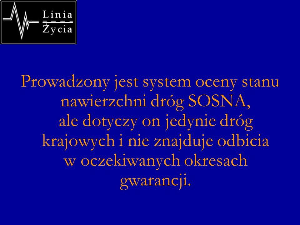 Prowadzony jest system oceny stanu nawierzchni dróg SOSNA, ale dotyczy on jedynie dróg krajowych i nie znajduje odbicia w oczekiwanych okresach gwaran