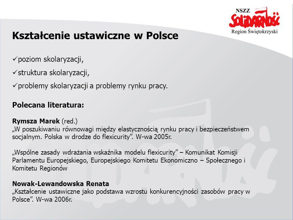 Kształcenie ustawiczne w Polsce poziom skolaryzacji, struktura skolaryzacji, problemy skolaryzacji a problemy rynku pracy. Polecana literatura: Rymsza