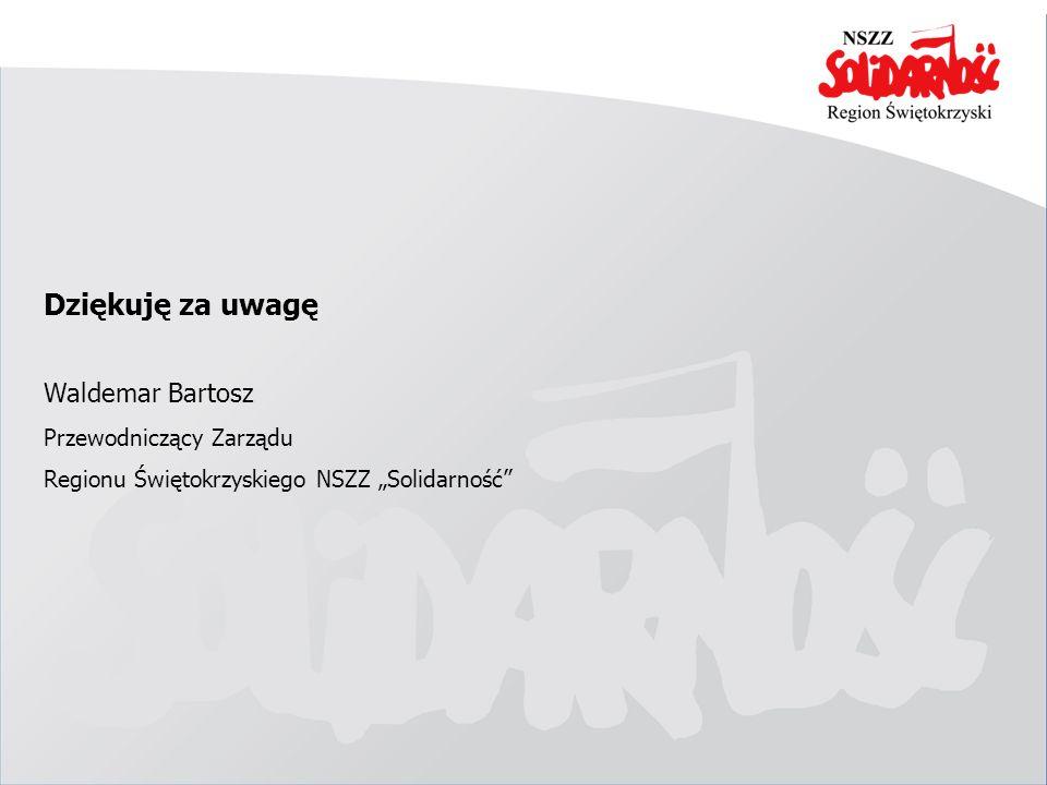 Dziękuję za uwagę Waldemar Bartosz Przewodniczący Zarządu Regionu Świętokrzyskiego NSZZ Solidarność