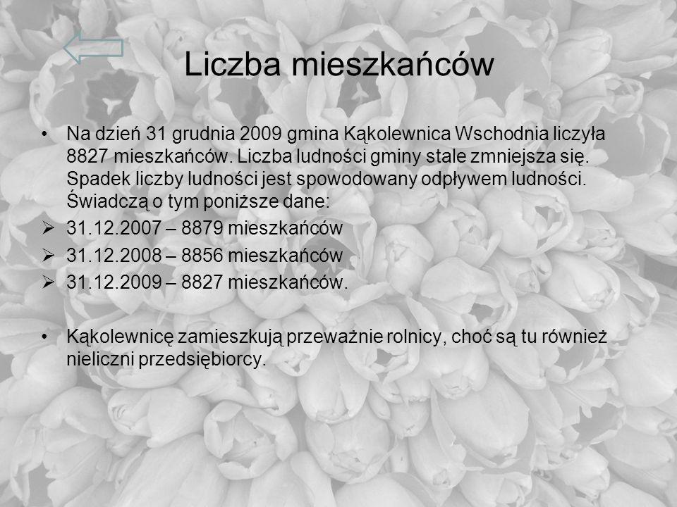 Liczba mieszkańców Na dzień 31 grudnia 2009 gmina Kąkolewnica Wschodnia liczyła 8827 mieszkańców. Liczba ludności gminy stale zmniejsza się. Spadek li