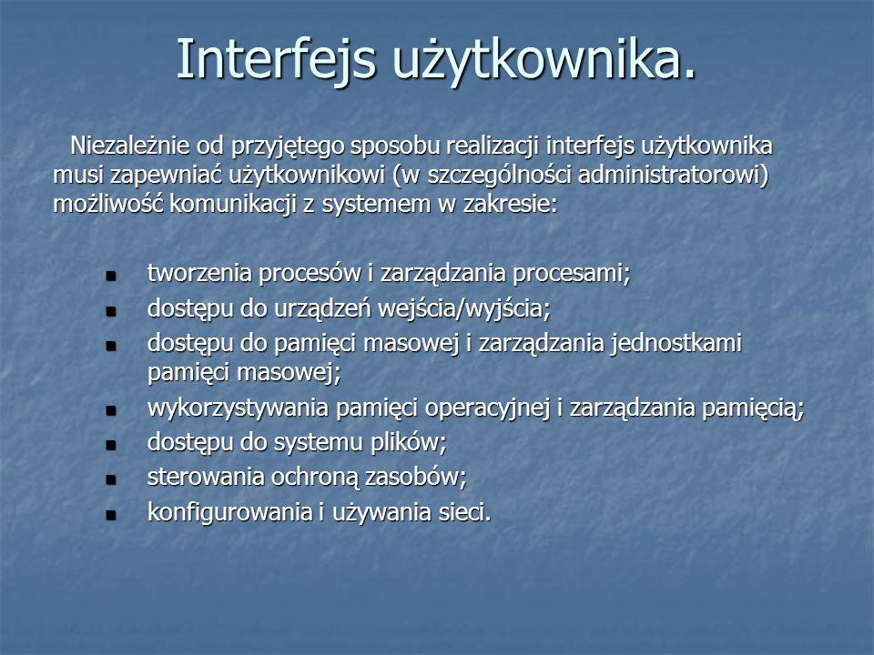 Interfejs użytkownika. Niezależnie od przyjętego sposobu realizacji interfejs użytkownika musi zapewniać użytkownikowi (w szczególności administratoro