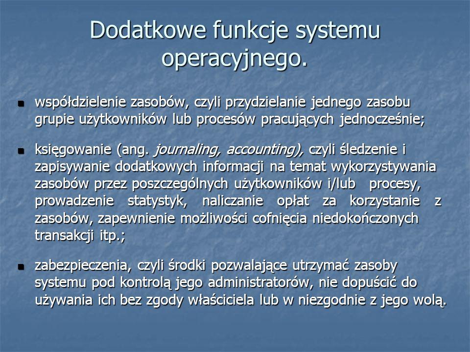 Dodatkowe funkcje systemu operacyjnego. współdzielenie zasobów, czyli przydzielanie jednego zasobu grupie użytkowników lub procesów pracujących jednoc