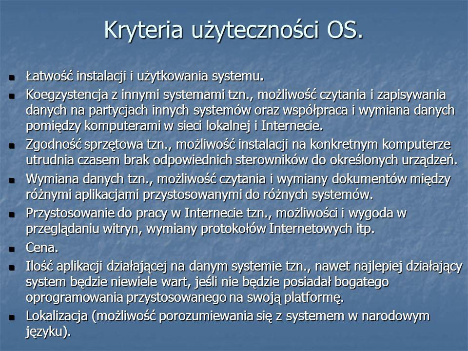 Kryteria użyteczności OS. Łatwość instalacji i użytkowania systemu. Łatwość instalacji i użytkowania systemu. Koegzystencja z innymi systemami tzn., m