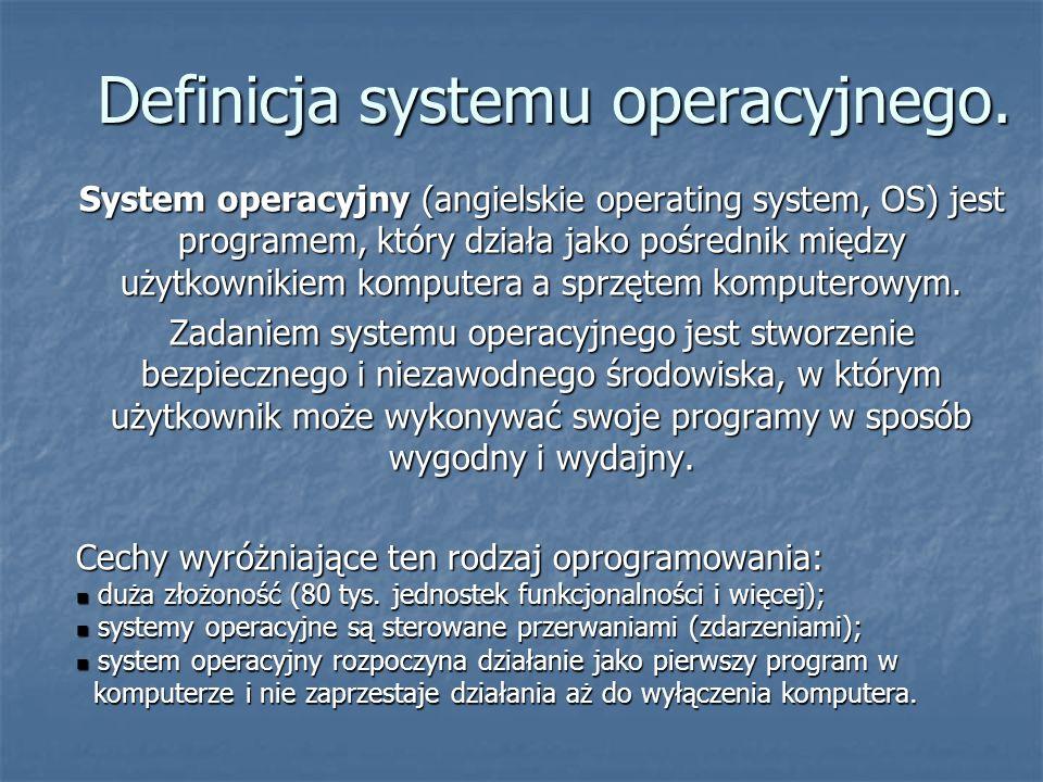 Definicja systemu operacyjnego. System operacyjny (angielskie operating system, OS) jest programem, który działa jako pośrednik między użytkownikiem k