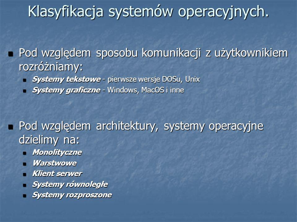 Klasyfikacja systemów operacyjnych. Pod względem sposobu komunikacji z użytkownikiem rozróżniamy: Pod względem sposobu komunikacji z użytkownikiem roz