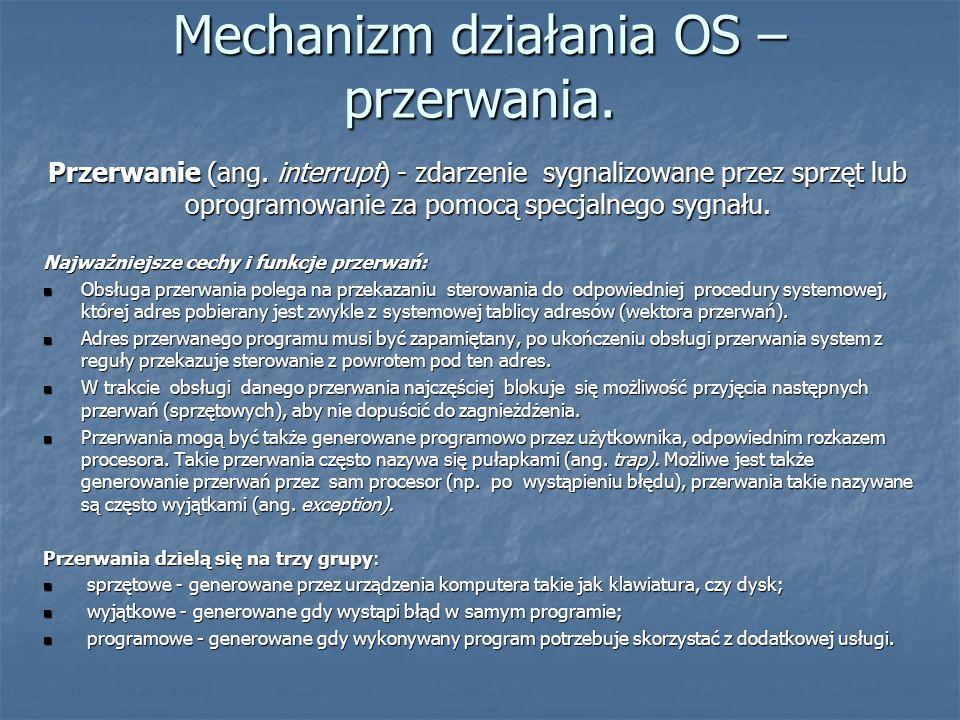 Mechanizm działania OS – przerwania. Przerwanie (ang. interrupt) - zdarzenie sygnalizowane przez sprzęt lub oprogramowanie za pomocą specjalnego sygna