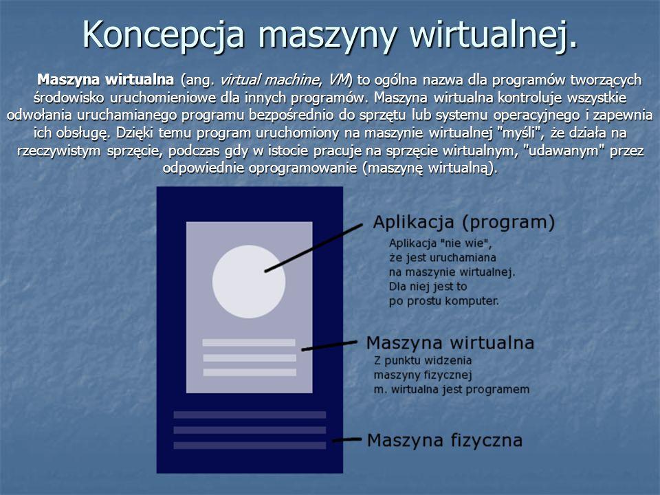 Koncepcja maszyny wirtualnej. Maszyna wirtualna (ang. virtual machine, VM) to ogólna nazwa dla programów tworzących środowisko uruchomieniowe dla inny