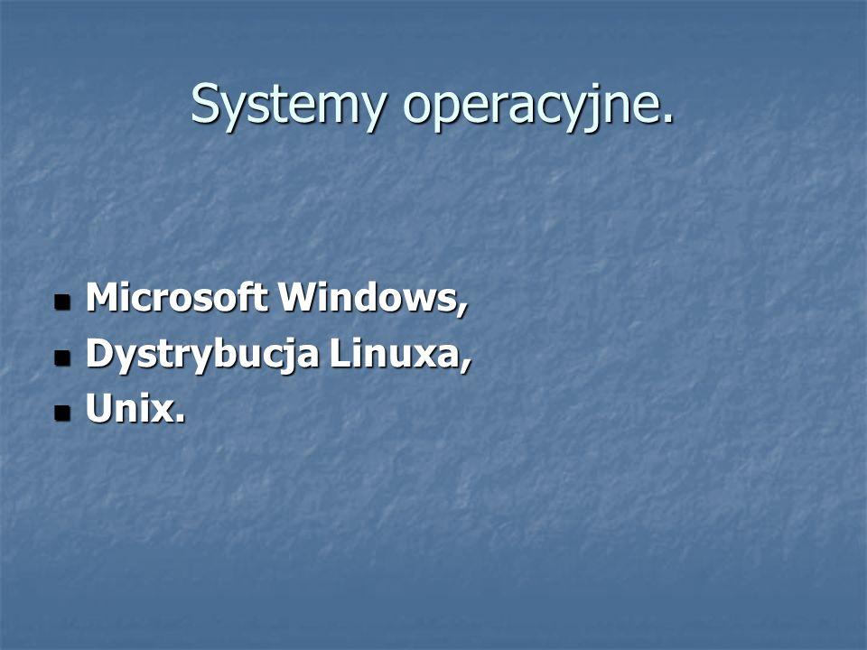 Systemy operacyjne. Microsoft Windows, Microsoft Windows, Dystrybucja Linuxa, Dystrybucja Linuxa, Unix. Unix.