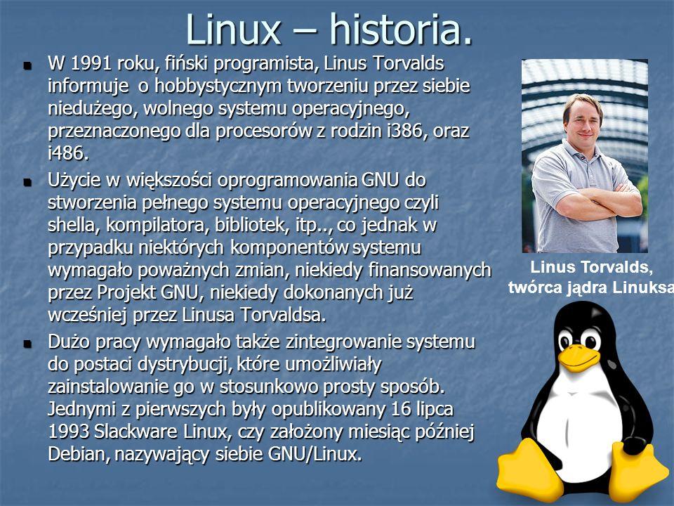 Linux – historia. W 1991 roku, fiński programista, Linus Torvalds informuje o hobbystycznym tworzeniu przez siebie niedużego, wolnego systemu operacyj