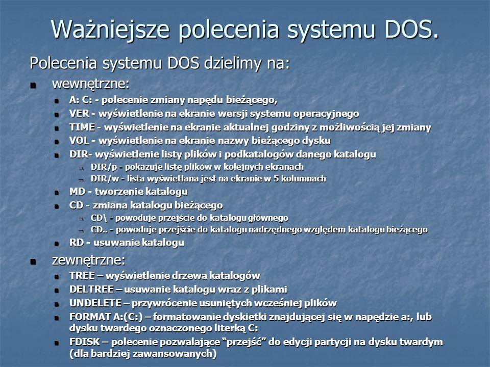 Ważniejsze polecenia systemu DOS. Polecenia systemu DOS dzielimy na: wewnętrzne: wewnętrzne: A: C: - polecenie zmiany napędu bieżącego, A: C: - polece
