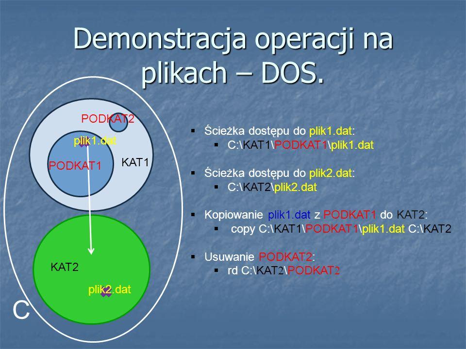 Demonstracja operacji na plikach – DOS. Ścieżka dostępu do plik1.dat: C:\KAT1\PODKAT1\plik1.dat Ścieżka dostępu do plik2.dat: C:\KAT2\plik2.dat Kopiow